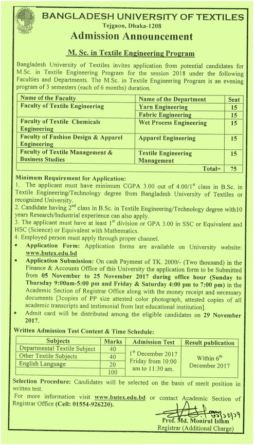 Admission Call : M Sc  in Textile Engineering Session 2018 – BUTEX