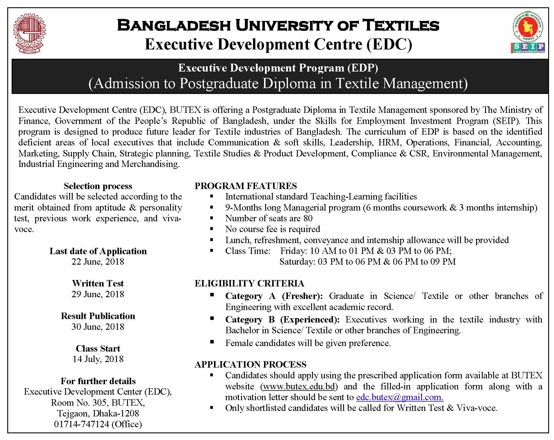 Admission To Postgraduate Diploma In Textile Management (EDP