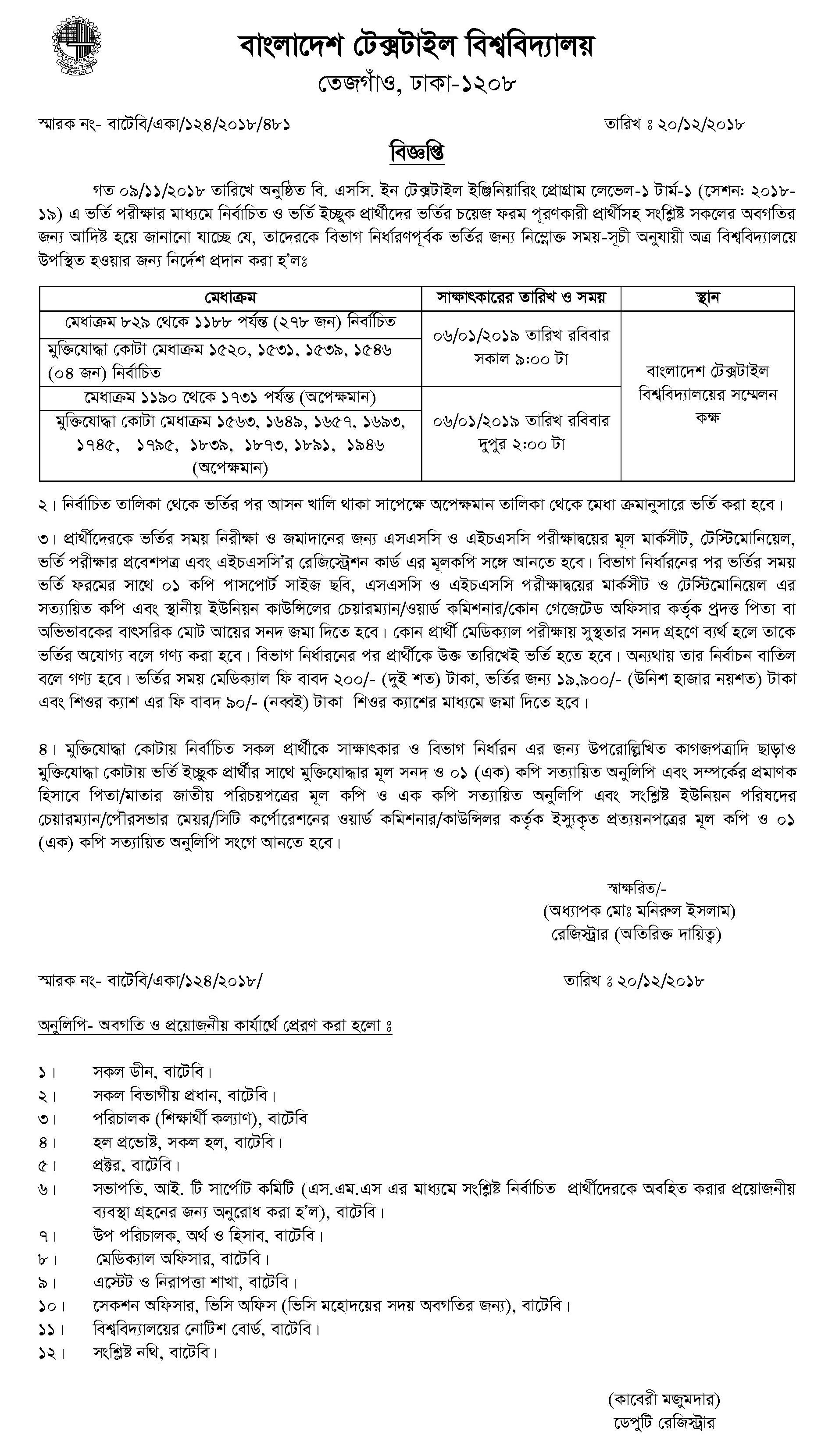 Result Published: Selected Candidates of B Sc  in Textile
